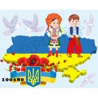 """Наліпки """"Набір 10. Україна з голубами. Великий"""" ОЗД 0010"""