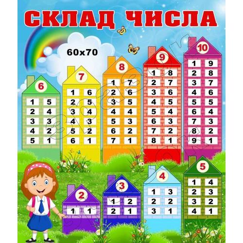 наліпка склад числа для школи будиночки замовити київ 22