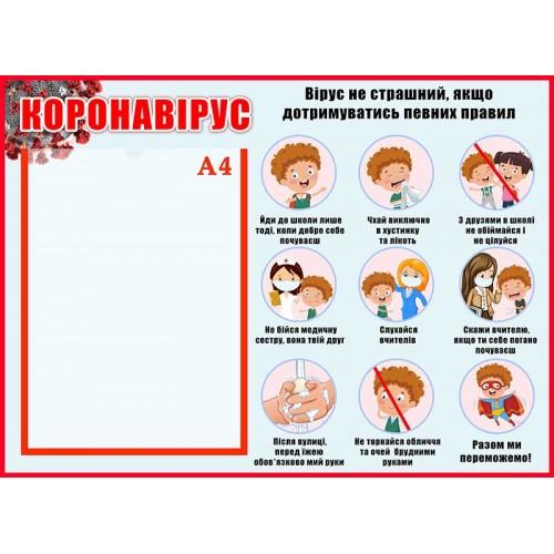 коронавірус стенд для початкової школи купити