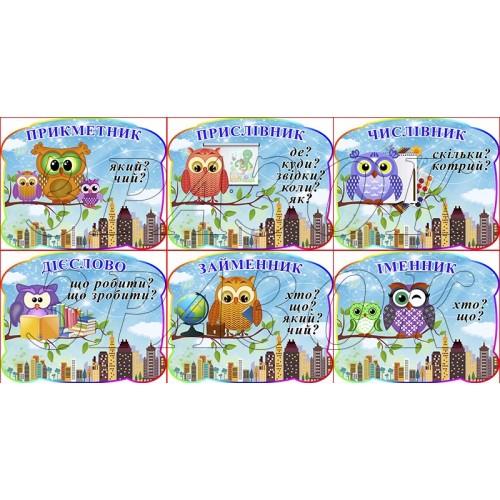 комплект настінних стендів частини мови совенята сови нуш замовити житомир 180