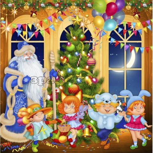 банер новорічно-різдвяний в школу прикраса садок 49