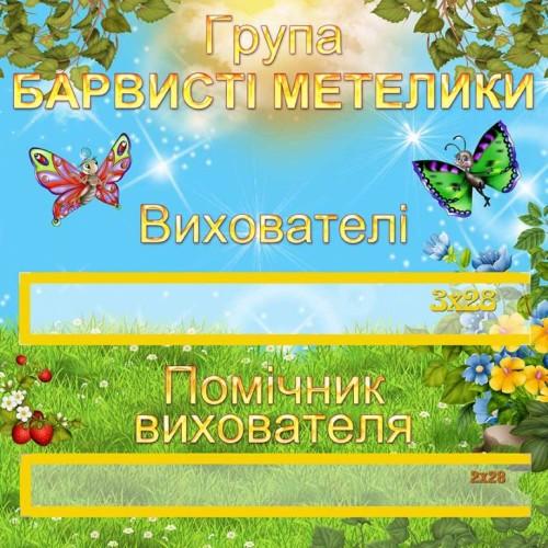 табличка барвисті метелики на двері пластикова 14