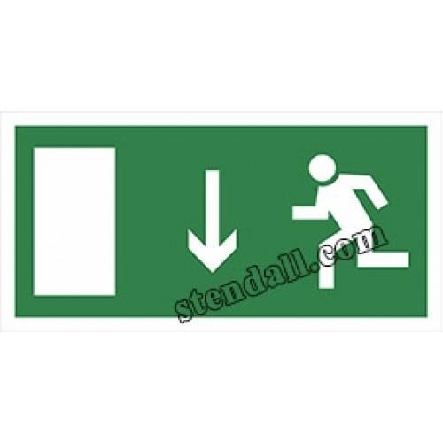 знак безпеки табличка напрямок руху до евакуаційних дверей 44
