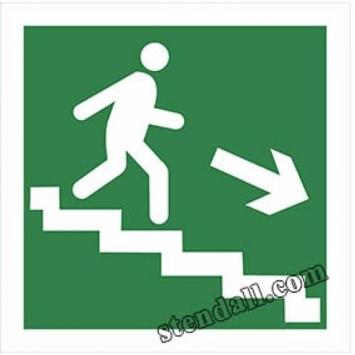 знак безпеки напрямок до виходу по сходах наліпка 2