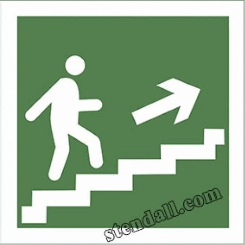 знак безпеки напрямок по сходам до виходу 7