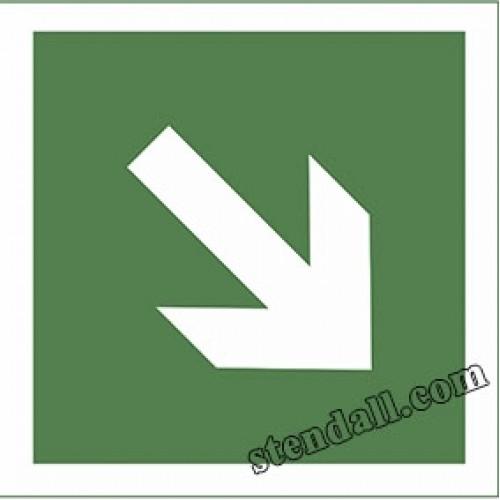 табличка знак безпеки Направляюча стрілка під кутом 45°